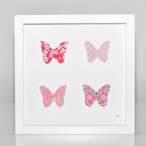 Grand cadre papillons Papillons roses et rouges Mille Coquelicots