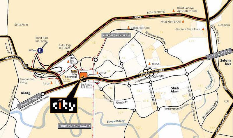 peta i-city shah alam selangor lokasi snow walk malaysia