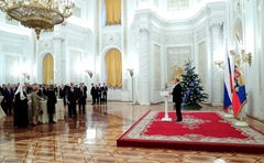Vladimir Putin. Reception at the Kremlin to mark the New Year holiday.