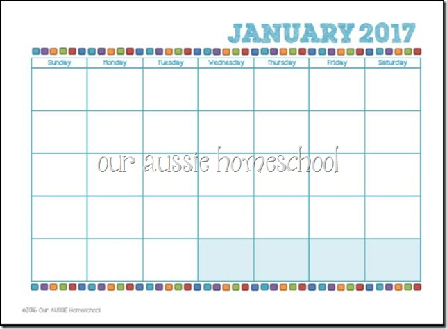 Blank Calendar Printable - Our Aussie Homeschool