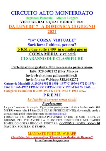 Virtual Race XIV 20 giugno