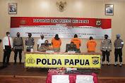 Kapolda Papua Pimpin Press Release Penangkapan Pelaku Pengedaran Senjata Api Dan Amunisi Di Nabire