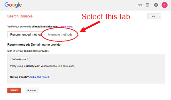 How to verify blog on webmaster tools