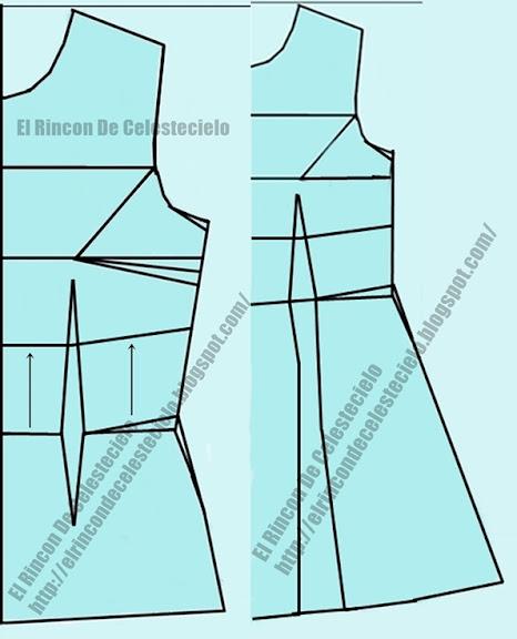 Marcando corte imperio en patrón vestido y blusa