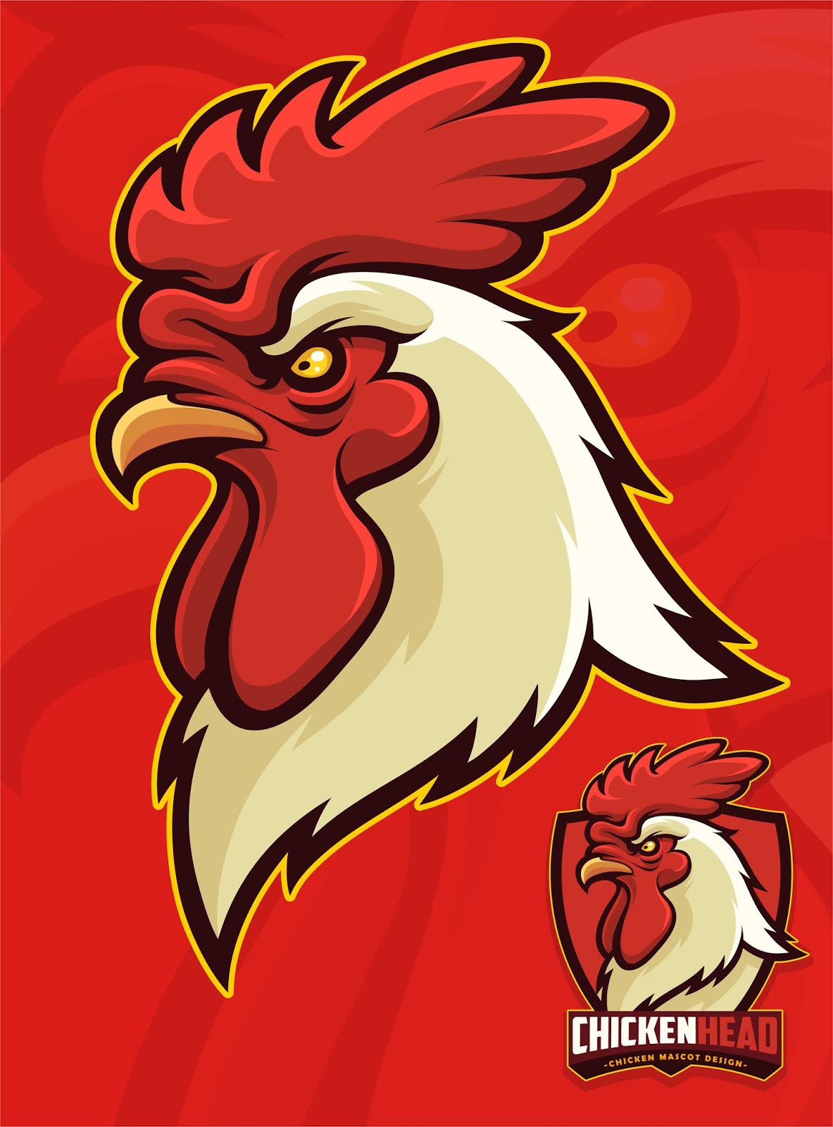 Chicken Head Mascot Sports University Mascot.jpg Free Download Vector CDR, AI, EPS and PNG Formats