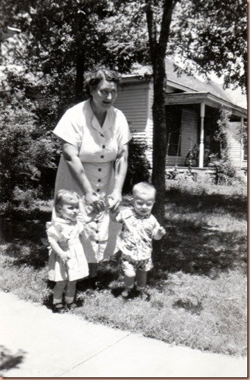 Mollie (Mrs. John) Margheim with grandchildren, twins Mary Rebecca