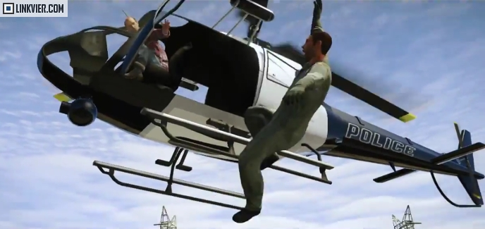 Trevor kicking someone out of a flying helicopter.