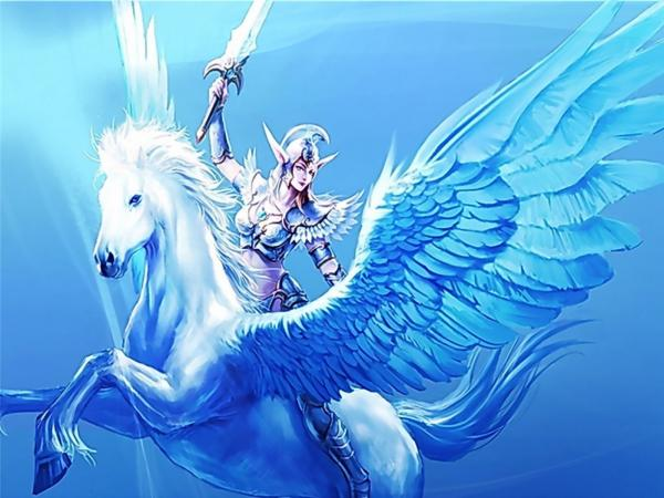Elf Warrior On Winged Horse, Elven Girls 2