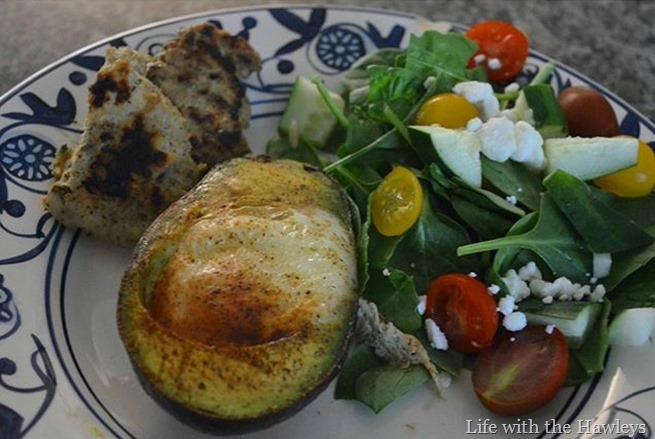 Avacado eggs, sage chicken sausage, & mustard vinegarette spinach salad-2