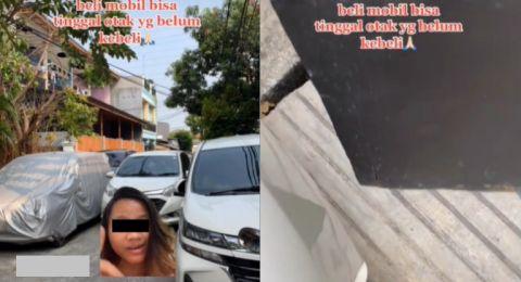 Wanita Dongkol Ada Mobil Parkir Depan Pagar Rumah 'Maaf Ya Lecetnya Gede'