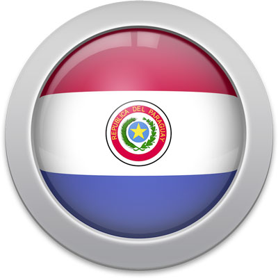 Paraguayan flag icon with a silver frame