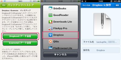 Dropboxにバックアップ
