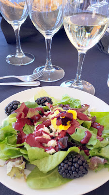 Herbs, flowers and silky greens with honey, Up in Your Face chevre and marionberries at the Lifewise Oregon Berry Festival Gala Berry Dinner 2015