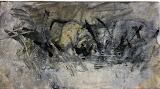 petit paysage gris / huile toile / 40x20 /1995