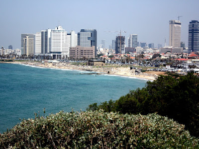 Coastline in Tel Aviv Israel as seen from Jaffa