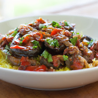 """Fainting Imam"" Turkish Braised Eggplant with Aromatic Yellow Rice (gf, vegan)."
