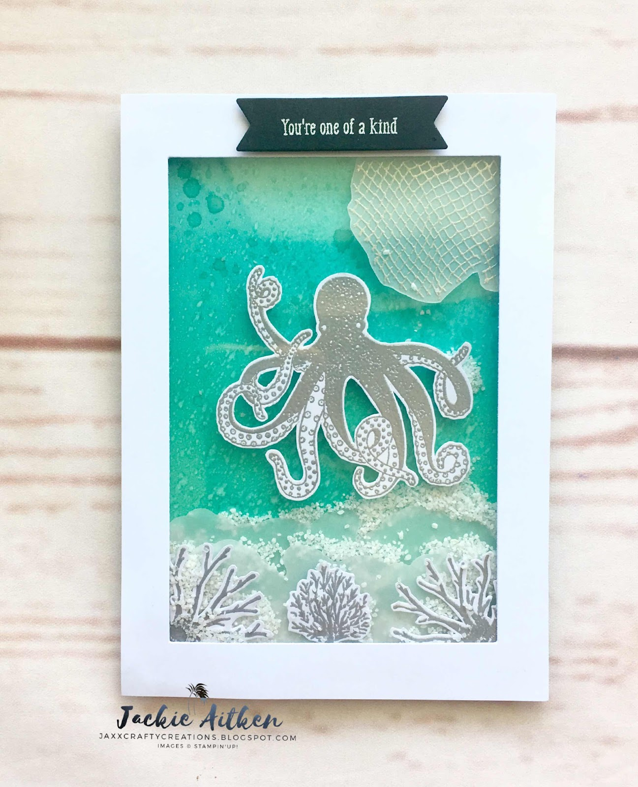 sea of textures, stampin up, shaker card, vellum and heat embossing