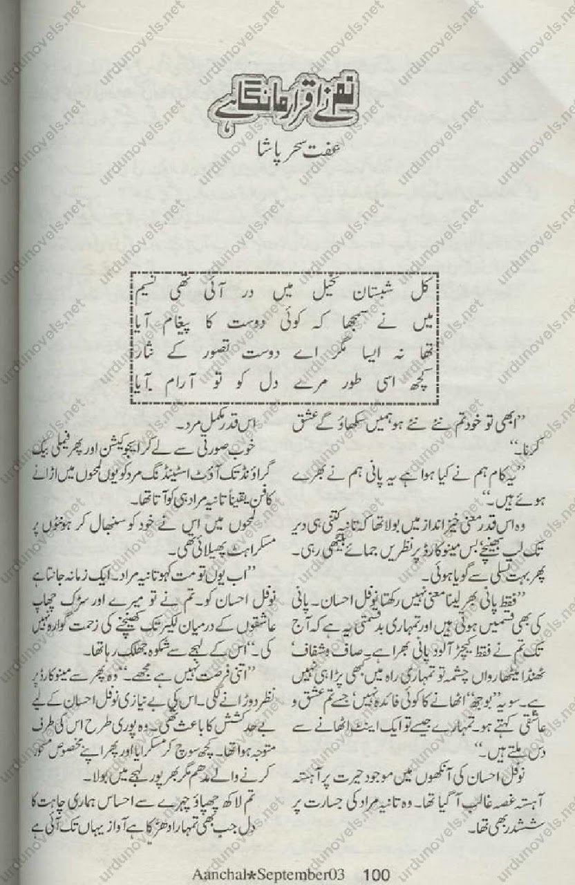 Tum Ne Iqrar Manga Hai is a very well written complex script novel which depicts normal emotions and behaviour of human like love hate greed power and fear, writen by Iffat Sehar Pasha , Iffat Sehar Pasha is a very famous and popular specialy among female readers
