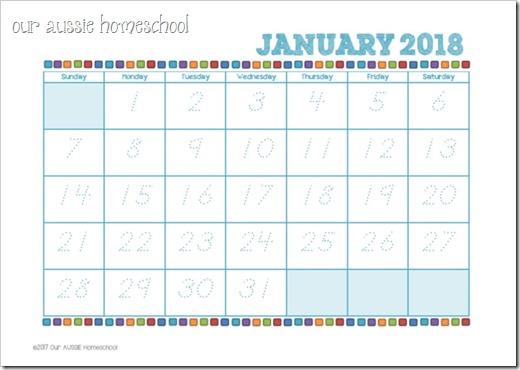 January 2018 Calendar Kids : Calendars our aussie homeschool