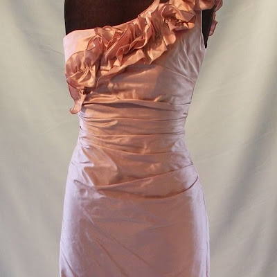 Assymetric Ruffle Dress. Dupion Silk