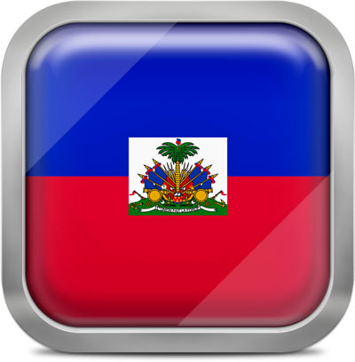 Haiti square flag with metallic frame