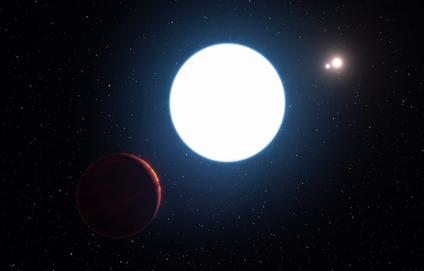 ilustração do sistema estelar triplo