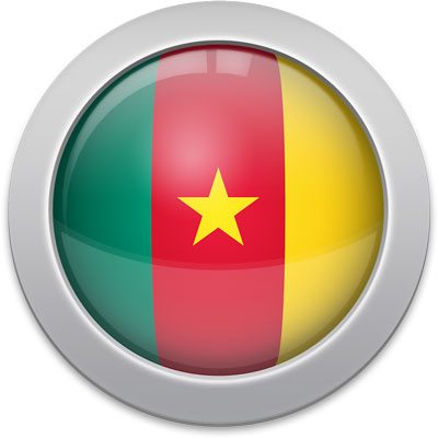 Cameroonian flag icon with a silver frame