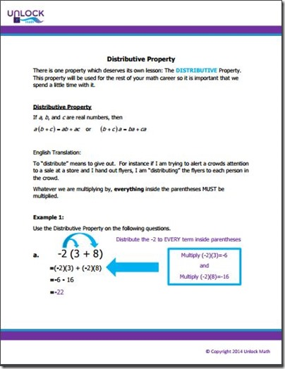 unlock math reference notes