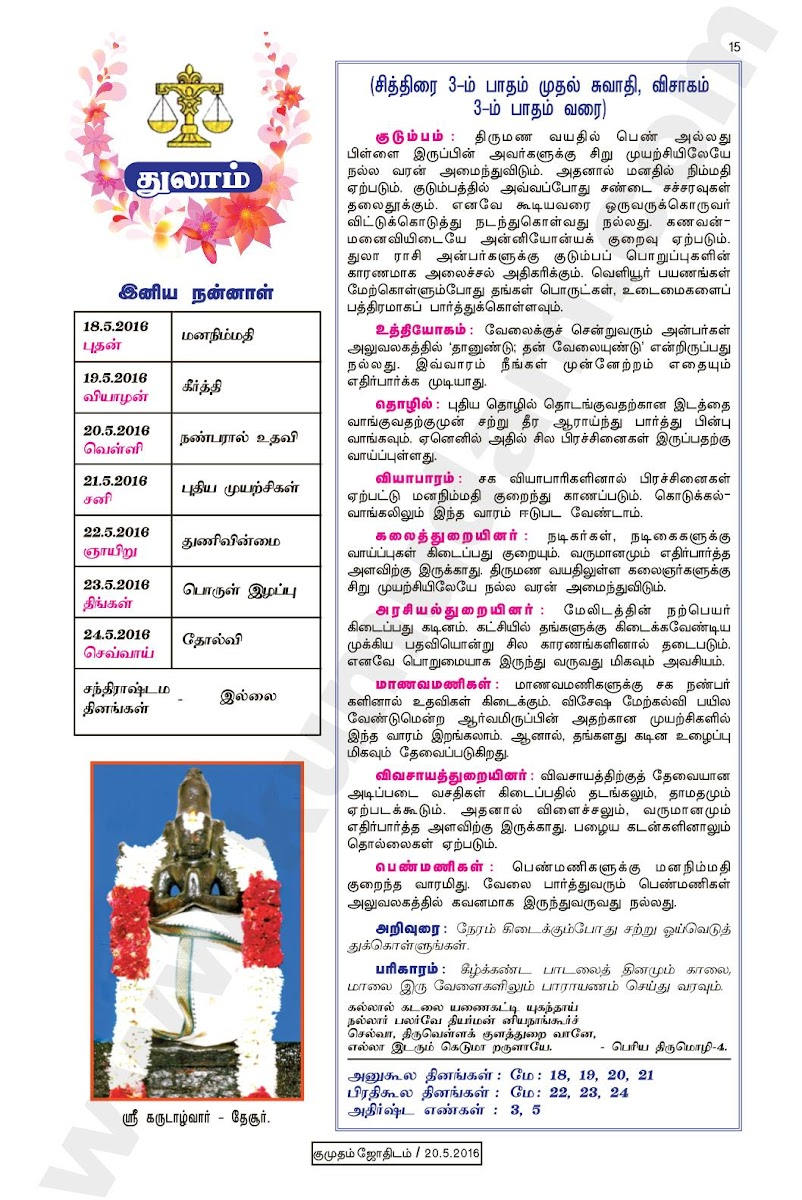 Kumudam Jothidam Raasi Palan May 18to May 24, 2016