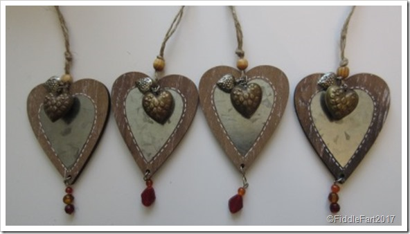 Ornate Wooden beaded heart gift tags