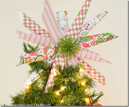 Tiras de papel adorno para la punta del árbol de Navidad