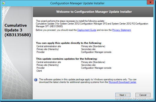 Has SCCM 2012 R2 SP1 CU3 been installed?