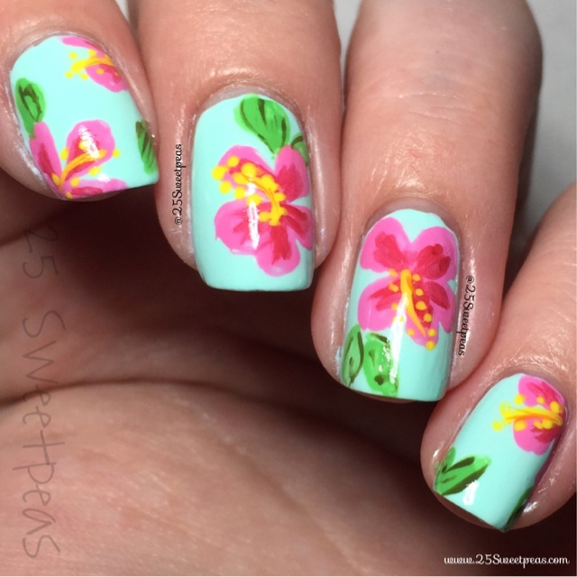 Hibiscus Nail Art + Mani Swap - 25 Sweetpeas