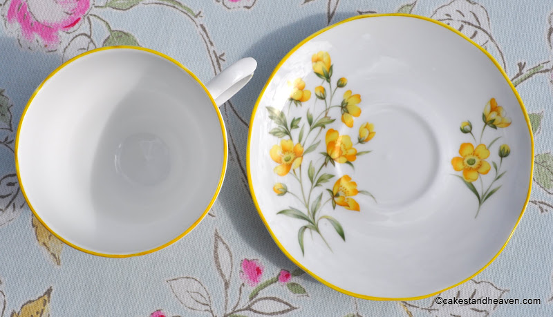 Yellow Rim China Teacup & Saucer