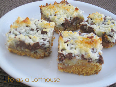 Hello Dolly Bars have seven delicious layers including shredded coconut, chopped walnuts, graham cracker, and butterscotch chips. Life-in-the-Lofthouse.com
