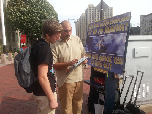 """This is Joe, one of our new volunteers, talking with Aaron at Boston University. Aaron was very friendly and allowed Joe to walk him through """"The Good Person Test"""" and then talk about our need for the Savior. Please pray for Aaron. Thanks!"""