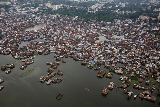 Aerial view of a low-lying area of Allahabad, India, which was underwater on 23 August 2016. Photo: Reuters
