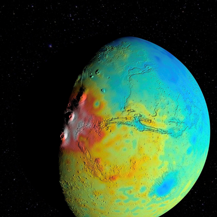 mapa de gravidade de Marte