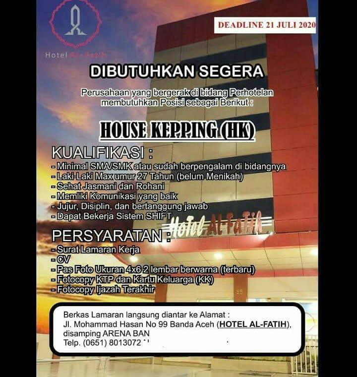 Lowongan Kerja Hotel Al Fatih Banda Aceh Karir Aceh