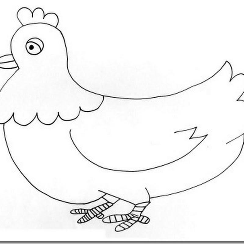 dibujo de gallinas y pollitos para colorear