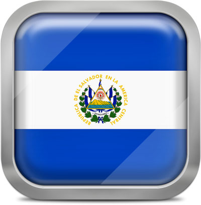 El Salvador square flag with metallic frame