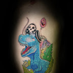 blue skull - Dinosaurs Tattoos Pictures