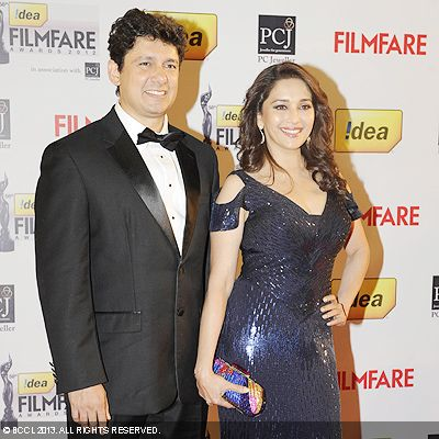 The gorgeous couple Madhuri Dixit and Shriram Nene set the red carpet on fire during the 58th Idea Filmfare Awards 2013, held at Yash Raj Films Studios in Mumbai.Click here for: 58th Idea Filmfare Awards