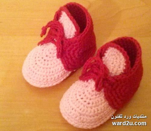 حذاء كروشية للاولاد بالباترون والخطوات المصورة