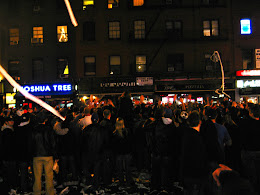 Celebration in the streets after Giants win the SuperBowl.