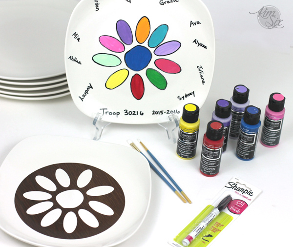 Permantant Paint Stenciled Ceramic Daisy Paint