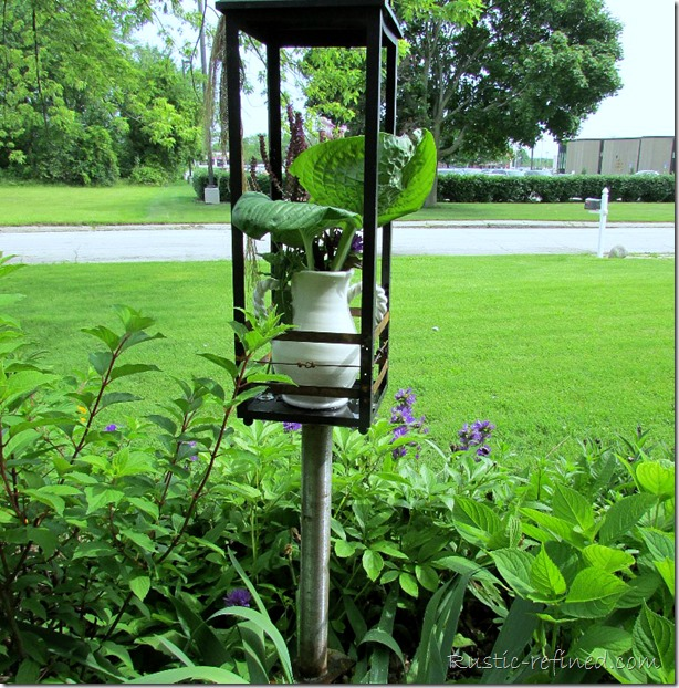 Garden art or Yard art. Repurposing a Lantern instead of throwing it away