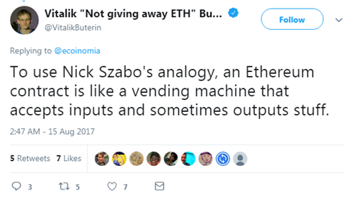 Vitalik Buterin mentioning Nick Szabo in his tweet