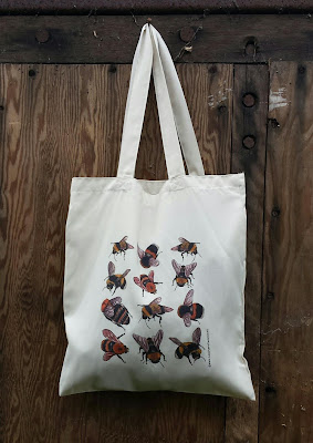 Bees bag - Recycled Tote Bag by Alice Draws The Line