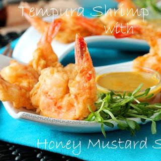 Tempura Shrimp with Honey Mustard Dipping Sauce.